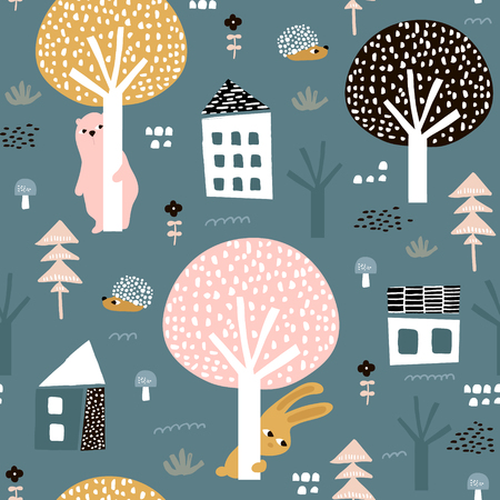 Seamless pattern with bunny, bear, hedgehog and floral elements, branches. Creative woodland background. Иллюстрация
