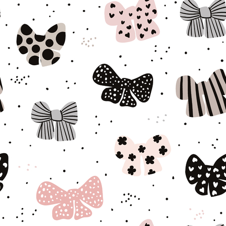 Seamless hand drawn pattern with bows. Fashion trendy texture.Great for fabric and textile. Vector Illustration Çizim