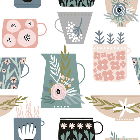 Seamless minimalistic pattern with flowers in cups,mugs and plates. Vettoriali