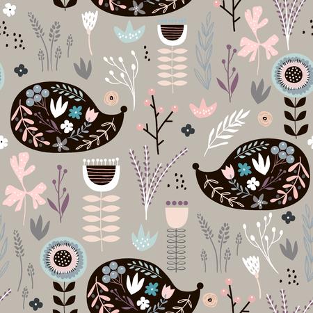 Naadloos patroon met herten, bloemenelementen, takken. Creatieve bosachtergrond. Perfect voor kinderkleding, stof, textiel, kinderkamerdecoratie, inpakpapier. Vectorillustratie Stock Illustratie