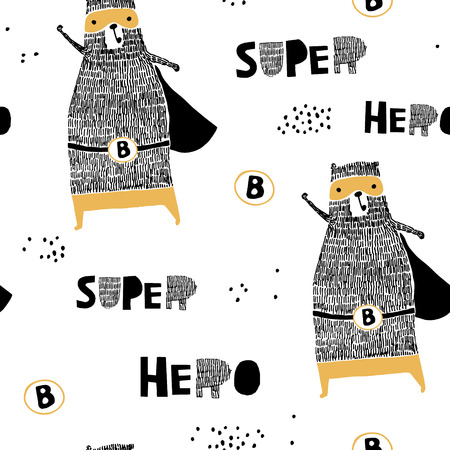 Seamless pattern with hand drawn bear hero. Creative childish texture in scandinavian style. Great for fabric, textile Vector Illustration