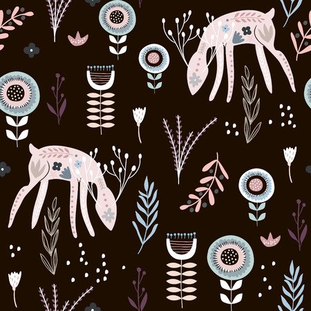Seamless pattern with deers, floral elements, branches. Creative woodland background. Ilustrace