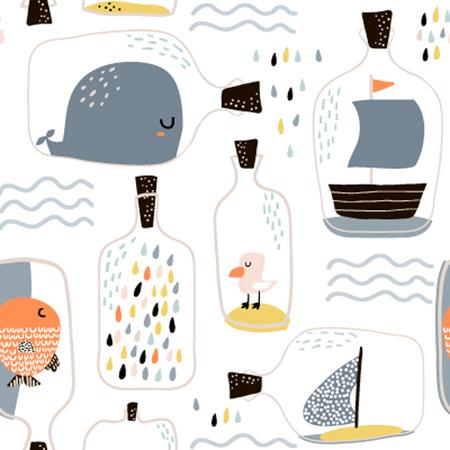 海洋要素を持つ手描きの海瓶とシームレスなパターン。生地、織物、アパレルのための子供じみたテクスチャ。ベクトルの背景  イラスト・ベクター素材