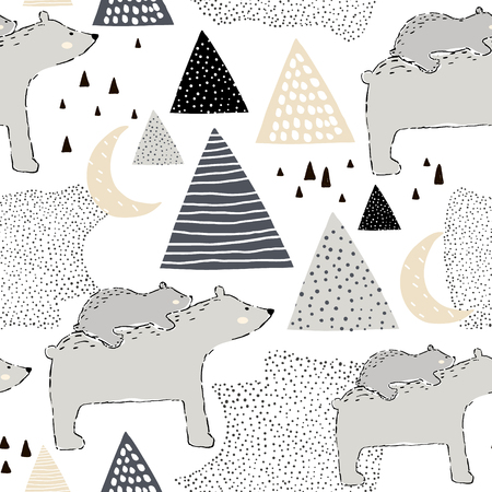 Seamless childish pattern with polar bear mom and baby. Creative kids design. Perfect for fabric, textile, warpping, nursery.Vector Illustration
