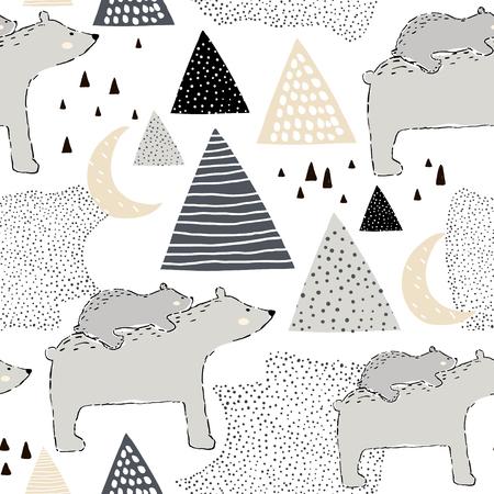 Sin fisuras patrón infantil con oso polar mamá y bebé. Diseño creativo para niños. Perfecto para tela, textil, urdimbre, guardería. Ilustración vectorial Ilustración de vector