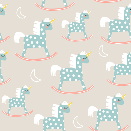 Childish seamless pattern with cute horse toy. Great for fabric, textile Vector Illustration