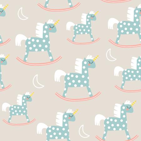 Padrão sem emenda infantil com brinquedo bonito cavalo. Ótimo para tecido, ilustração vetorial de têxteis