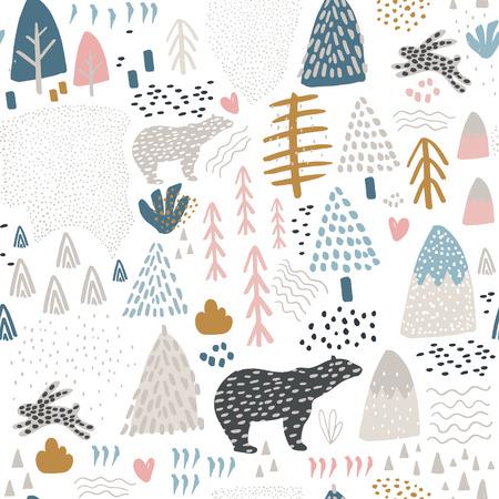 バニー、ホッキョクグマ、森の要素と手描きの形状とシームレスなパターン。子供じみた質感。生地、テキスタイルベクトルイラストに最適