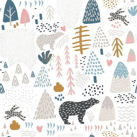 Seamless pattern with bunny,polar bear, forest elements and hand drawn shapes. Childish texture. Great for fabric, textile Vector Illustration