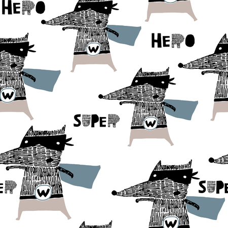 Seamless pattern with hand drawn wolf hero. Creative childish texture in Scandinavian style. Great for fabric, textile Vector Illustration