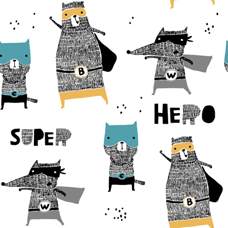 Seamless pattern with hand drawn cat,bear, wolf hero. Creative childish texture in scandinavian style. Great for fabric, textile Vector Illustration Illustration