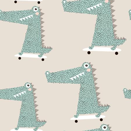 スケートボード上のワニとシームレスなパターン。創造的なベイ動物の背景。子供のアパレル、ファブリック、テキスタイル、保育園の装飾、包装