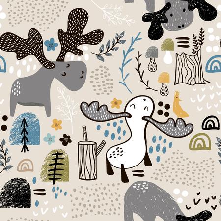 엘크 나무와 추상 셰이프에서 유치 한 원활한 패턴. 유행 스칸디나비아 벡터 배경입니다. 아동 의류, 직물, 섬유, 보육 장식, 포장지에 적합합니다. 일러스트