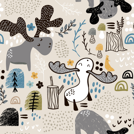 Childish seamless pattern with elks in wood and abstract shapes. Trendy Scandinavian vector background. Perfect for kids apparel,fabric, textile, nursery decoration,wrapping paper Ilustração