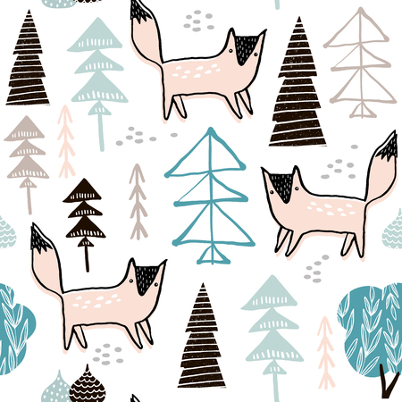 Seamless woodland pattern with hand drawn foxes. Creative height detailed background. Perfect for kids apparel,fabric, textile, nursery decoration,wrapping paper.Vector Illustration