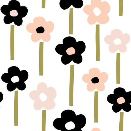 Naadloos patroon met hand getrokken bloemen. Creatieve botanische achtergrond. Perfect voor kinderkleding, stof, textiel, kinderkamerdecoratie, inpakpapier. Vectorillustratie Stock Illustratie