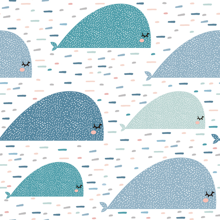 Seamless pattern with cartoon whales