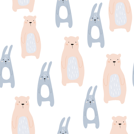 Seamless childish pattern with cute bear and bunny. Creative kids design. Perfect for fabric, textile, wrapping, nursery.Vector Illustration