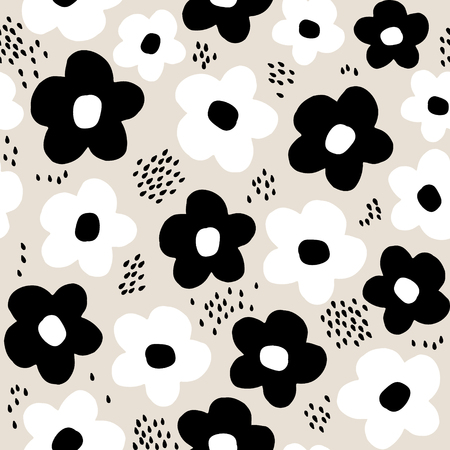 Seamless pattern with hand drawn flowers. Creative botanical background. Perfect for kids apparel,fabric, textile, nursery decoration,wrapping paper.Vector Illustration