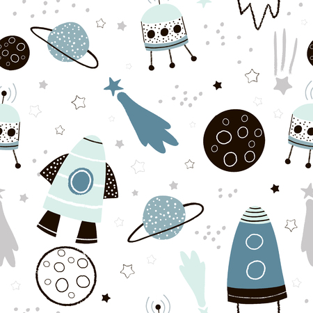 Childish seamless pattern with hand drawn space elements space, rocket, star, planet, space probe. Trendy kids vector background. Stock Illustratie