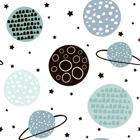 Seamless pattern with stars, constellations, planets and hand drawn elements. Childish texture. Great for fabric, textile Vector Illustration Vettoriali
