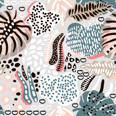 Palm branch trendy seamless pattern with hand drawn elements. Abstract tropical background. Great for fabric, textile Vector Illustration Vectores