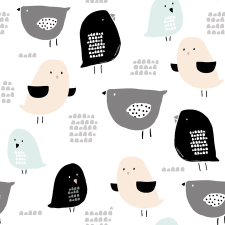 Seamless pattern with hand drawn tiny birds. Trendy scandinavian vector background. Perfect for kids apparel,fabric, textile, nursery decoration,wrapping paper Çizim
