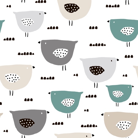 Seamless pattern with hand drawn tiny birds. Trendy scandinavian vector background. Perfect for kids apparel,fabric, textile, nursery decoration,wrapping paper Ilustração