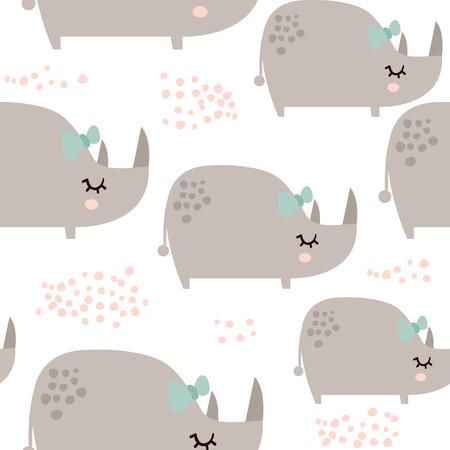 Nahtloses Muster mit netten Nashornmädchen in der skandinavischen Art. Kindischer Hintergrund des kreativen Vektors für Kindergewebe, Gewebe, wickelnd, Kleid ein