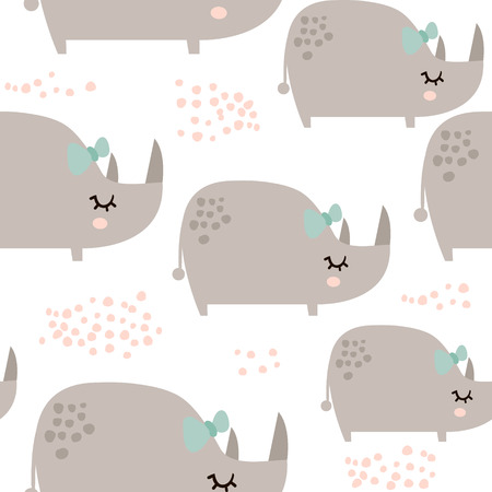 Seamless pattern with cute rhinoceros girls in scandinavian style. Creative vector childish background for kids fabric, textile,wrapping, apparel