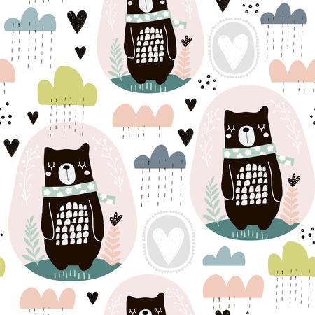 Modèle sans couture avec ours, éléments floraux, branches, nuages. Arrière-plan créatif de style scandinave. Parfait pour les vêtements pour enfants, tissus, textiles, décoration de pépinières, papier d'emballage. Banque d'images - 94358577
