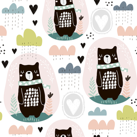 Seamless pattern with bear, floral elements, branches, clouds. Creative Scandinavian style background. Perfect for kids apparel,fabric, textile, nursery decoration,wrapping paper.