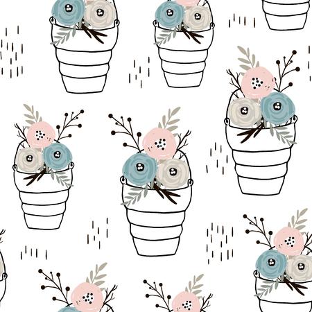 Naadloos minimalistisch patroon met bloemen in hand getrokken manden. Creatieve mode achtergrond. Perfect voor stof, verpakking, behang, textiel, kleding