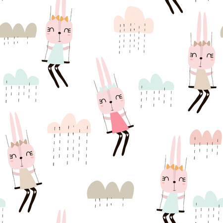 Seamless pattern with cute rabbit girls . Creative childish background. Perfect for kids apparel,fabric, textile, nursery decoration,wrapping paper.Vector Illustration