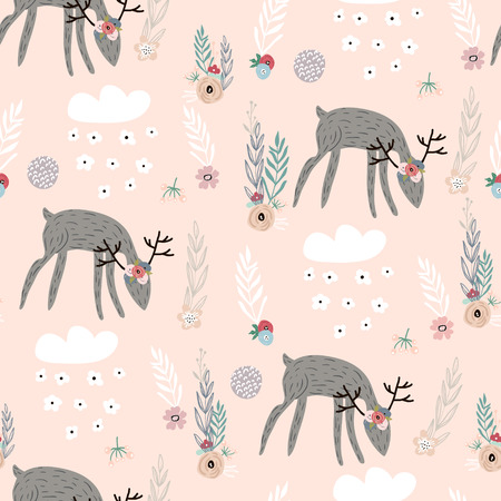 Seamless pattern with deer, floral elements, branches. Creative woodland background. Perfect for kids apparel,fabric, textile, nursery decoration,wrapping paper.Vector Illustration