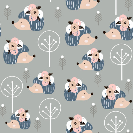 Seamless pattern hedgehogs with floral elements, branches. Creative woodland background. Perfect for kids apparel,fabric, textile, nursery decoration,wrapping paper.Vector Illustration  イラスト・ベクター素材