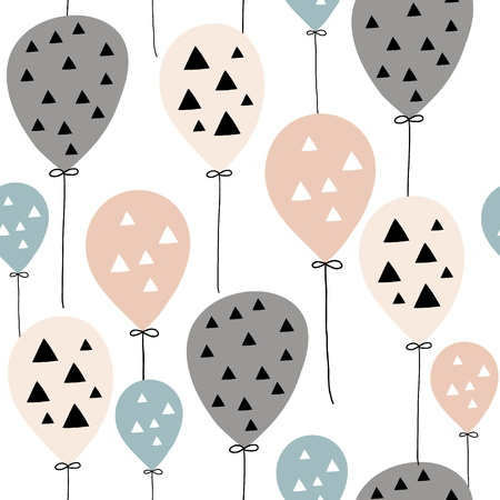 Seamless pattern with balloons in Scandinavian style. Creative vector childish background for kids fabric, textile,wrapping, apparel