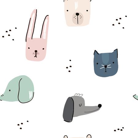 Modèle sans couture avec des visages d'animaux dessinés à la main. Fond enfantin créatif. Parfait pour l'habillement des enfants, tissu, textile, décoration de pépinière, papier d'emballage. Illustration vectorielle Vecteurs