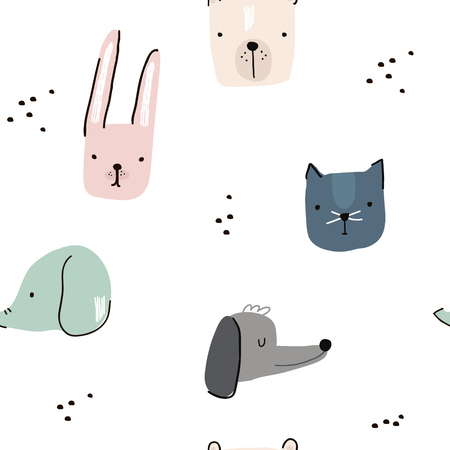 Seamless pattern with hand drawn animal faces. Creative childish background. Perfect for kids apparel,fabric, textile, nursery decoration,wrapping paper.Vector Illustration