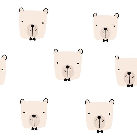 Naadloos patroon met hand getrokken beergezichten. Creatieve kinderachtige achtergrond. Perfect voor kinderkleding, stof, textiel, kinderkamerdecoratie, inpakpapier. Vectorillustratie Stockfoto - 94136492