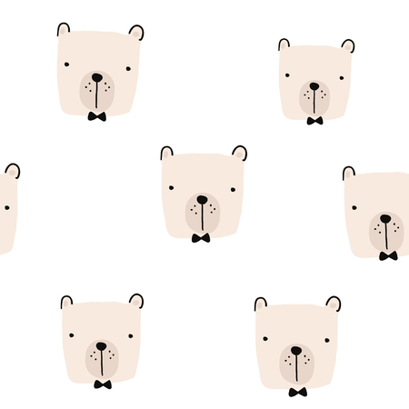 Seamless pattern with hand drawn bear faces. Creative childish background. Perfect for kids apparel,fabric, textile, nursery decoration,wrapping paper.Vector Illustration Ilustração