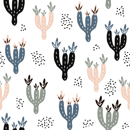 Seamless pattern with cactuses and hand drawn textures.Perfect for fabric,textile.Vector background Ilustracja