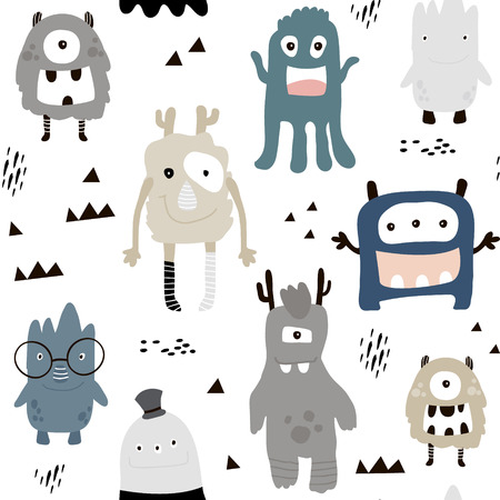Childish seamless pattern with cute boys monsters.