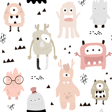 Childish seamless pattern with cute girls monsters.