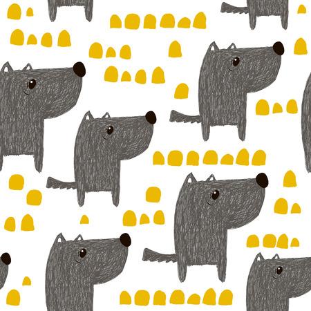 Modèle sans couture avec chiens mignons dessinés à la main. Fond enfantin créatif. Parfait pour l'habillement des enfants, tissu, textile, décoration de pépinière, papier d'emballage. Illustration vectorielle Vecteurs