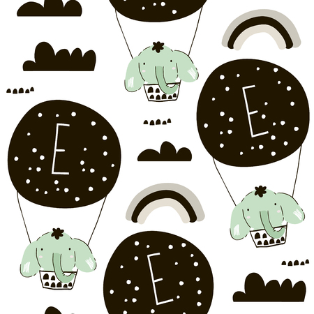 Seamless pattern with elephants on hot air balloons. Creative childish background. Perfect for kids apparel,fabric, textile, nursery decoration,wrapping paper.Vector Illustration 矢量图像