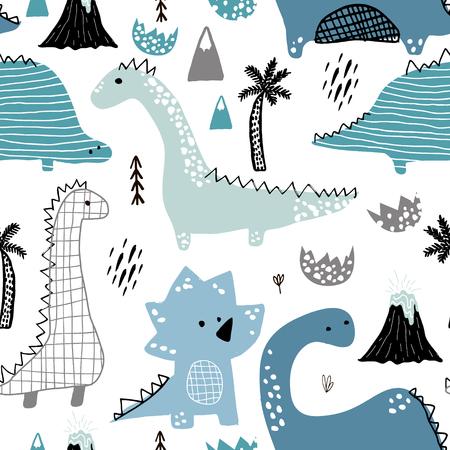 Dziecinny wzór z ręcznie rysowane dino w stylu skandynawskim. Kreatywne dziecinne tło dla tkanin, tekstyliów