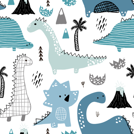 Childish seamless pattern with hand drawn dino in scandinavian style. Creative vector childish background for fabric, textile
