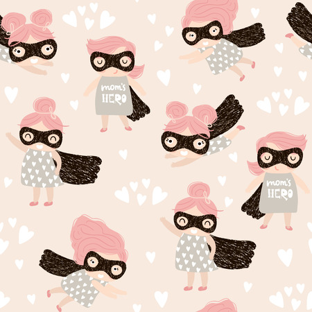 Seamless childish pattern with cute little girl hero. Creative nursery background. Perfect for kids design, fabric, wrapping, wallpaper, textile, apparel