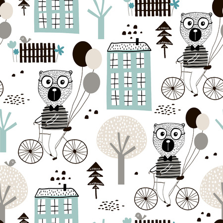 Seamless childish pattern with cute bears bicycling in the city. Creative kids texture for fabric, wrapping, textile, wallpaper, apparel. Vector illustration Stock Vector - 98945187